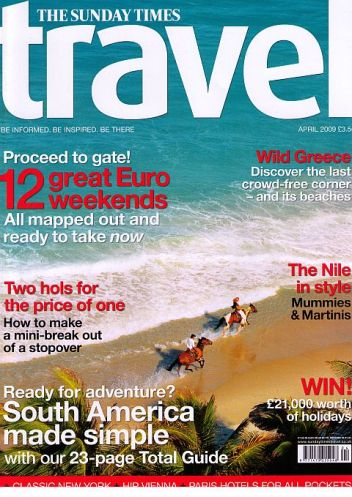 sunday times travel magazine cover